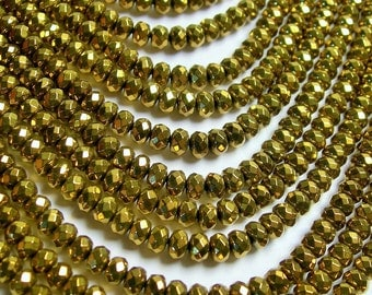 Hematite gold - 3x4mm faceted rondelle beads - full strand - 133 beads - A quality - PHG207