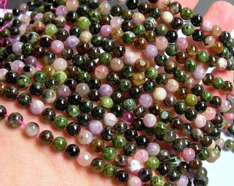 Tourmaline - 6mm ( 5.6mm) round beads - full strand - 71 beads - Ab quality - multi color tourmaline - RFG609