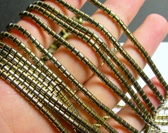Hematite Gold - 3mm tube beads - 1 full strand - 133 beads - AA quality - 3mmx3mm - light gold - PHG249
