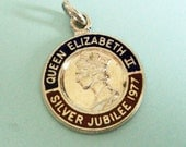 Queen Elizabeth Jubilee Pendant... Sterling Silver & Enamel 1977