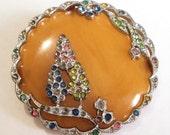 Art deco Diamante Brooch... Multi Colour Paste and Bakelite... For Repair