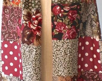 50% OFF SALE Vintage SILK scarf . long rose wine floral polka dot patchwork neck scarf . made in Korea . Excellent condition