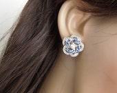 Bridal Earrings,Stud Earrings,Bridal Rhinestone Earrings,Rhinestone Earrings,Swarovski Rhinestone Earrings,Something Blue Earrings, ROSELANI