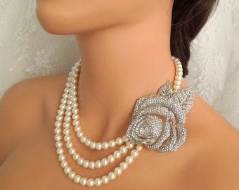 Bridal Pearl Necklace, Ivory Swarovski Pearls, Rose Rhinestone Brooch,Bridal Rhinestone Necklace, Statement Bridal Necklace, Pearl,ROSABELLA