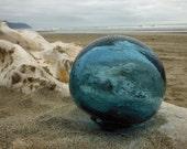 "Japanese Glass Fishing Floats - 3.2"" Diameter, Alaska Beachcombed, Blue"