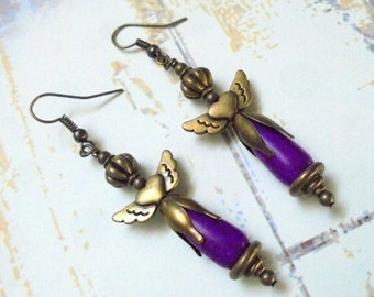 Violet and Brass Angel Earrings (2623)