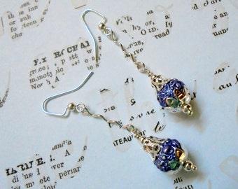 Textured Purple Pearl Dangle Earrings (2802)