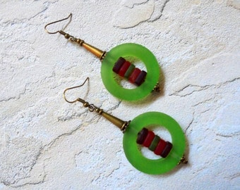 Chunky Green, Orange and Red Earrings (2912)
