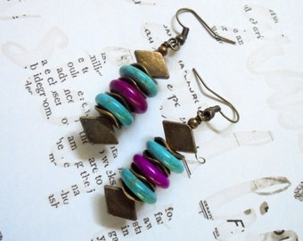 Violet, Turquoise and Brass Ethnic Inspired Earrings (2966)