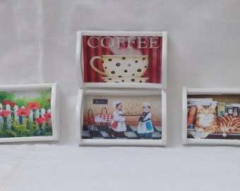 DOLLS HOUSE MINIATURES - 1/12th Hand Made Picture Tray x1. (4 options)