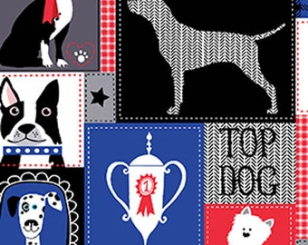 Top Dog Fabric Black Top Dog Show Dog Fabric Fabric Novelty Fabric 1 yd