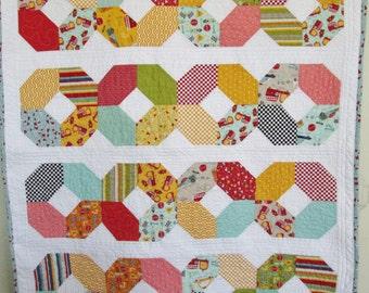 Modern Baby Boy Quilt, Modern Baby Boy Crib Quilt by Dreamy Vintage Sheets