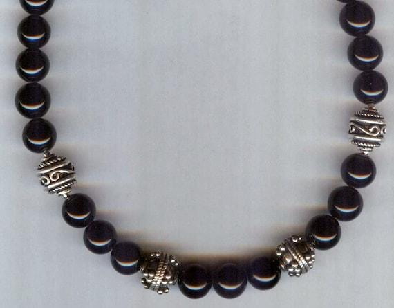 Mens / Unisex Black Onyx Gemstone and Bali Siver Beaded Necklace