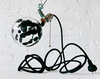 Industrial Clip Clamp Light - Black Handprint Globe Bulb - Black Textile Cord - Handmade Handjob