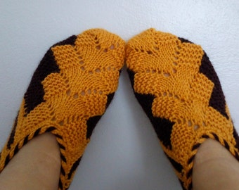 Mustard Yellow and Brown Hand knit women house slipper-Adult size Winter Home Slippers