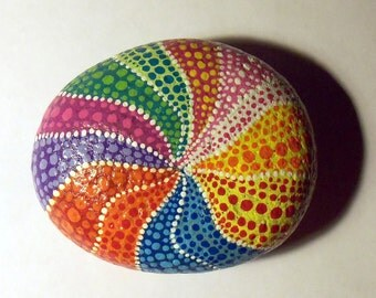 Colorful Rainbow Dots Painted Art Stone