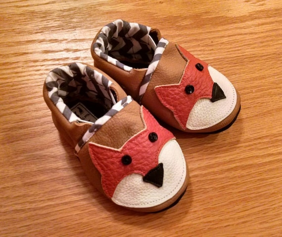 baby fox shoes 3 6 month leather baby shoes Mud Turtles And