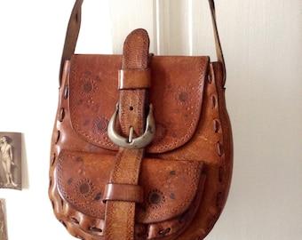 1970s French vtg HONEY tooled Leather shoulder bag / big buckle