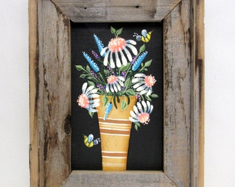 Barn Wood Frame with Folk Art White Flowers in Gold and Brown Vase, Hand or Tole Painted on to Fiberglass Black Screen, Reclaimed Wood Frame