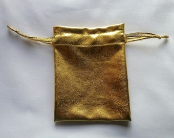 Gold shiny shimmer fabric favor bags set of 100 bags 3 x 4inch Great for handmade soaps, herbs, tea, jewelry etc.