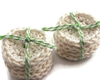 Crochet Cotton Rounds - 10 Small Rounds in Cream - Face Scrubby Set