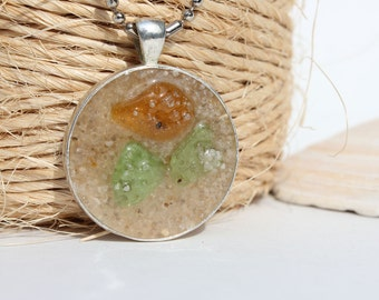 Sand with Green and Brown Sea Glass Pendant Necklace Tray Beach