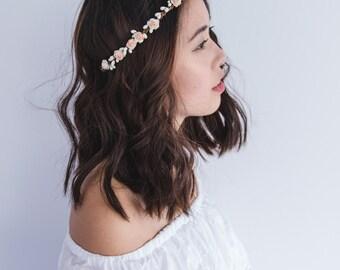 flower girl children's flower crown // pale peach ivory / wedding flowergirl kids size floral hair wreath headpiece, nature bohemian