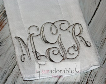 Monogrammed Burp Cloth - Baby Shower Gift - Choose Your Color
