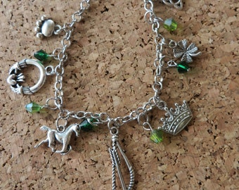Brave Movie Themed Silver Charm And Crystal Bracelet
