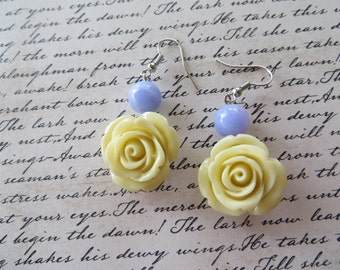 Ivory Resin Rose Earrings with Lavender Jade