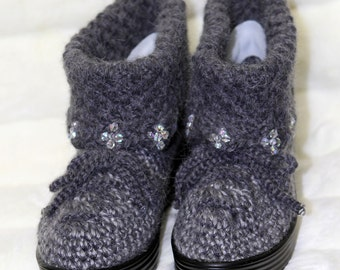 beaded angora boots - winter boots - angora boots - gray boots - women shoes - women boots - hand crocheted boots - beaded boots - designer