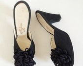 "1950s Black Heels- Mules, 7, PomPom Pinup Heels by ""Jerro New York, Vanity boot shop"" Retro Rockabilly Shoes"