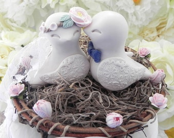 Rustic Love Bird Wedding Cake Topper, Peony Flower, Birds in Light Beige, Blush Pink and Navy Blue, Love Birds in Nest - Personalized Heart