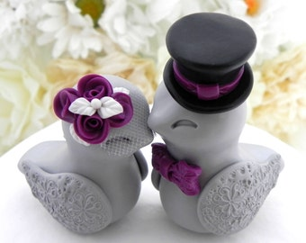 Love Birds Wedding Cake Topper, White, Plum Purple, Black and Grey, Bride and Groom Keepsake, Fully Customizable