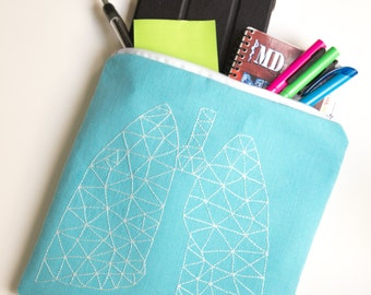 Zippered Bag with Hand Embroidered Geometric Lung Design
