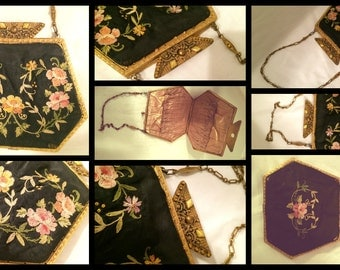 Art Deco 1920s Rose Embroidery Purse Stone Clasp Etched Framed Bag True Vintage Golden Chain Handle Antique Vintage wow gift artedellamoda