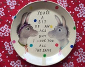 Pale Yellow in Polkadots Donkey Couple Vintage Illustrated Valentines Day Plate