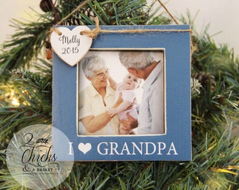 Personalized Christmas Ornament, Picture Frame Ornament, Baby's First Christmas Ornament, I Love Grandpa Personalized Ornament
