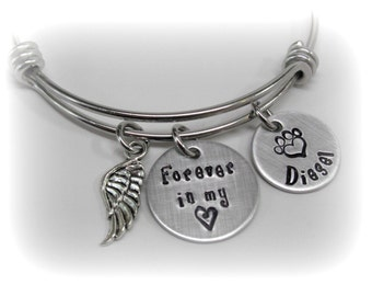 Dog Memorial Forever In My Heart Dog Remembrance Bracelet Custom Pet Name Pet Remembrance Pet Memorial Pet Loss Dog Loss Bangle