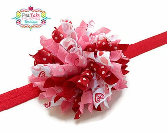 My Fancy Sweetheart Valentine Hair Bow, Baby Hair Bow, Korker Hair Bow, Korker Headband, Girls Hair Bow, Toddler Hair Bow, Corker Bow, 809