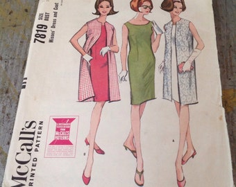 Vintage McCall's Sewing Pattern 7819 Misses' Dress and Coat Size 12 Bust 32