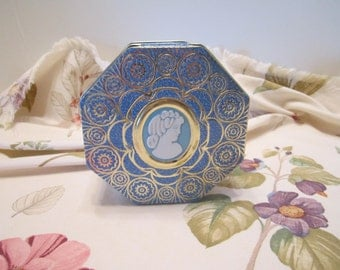 Cameo Designed Vintage Tin Trinket Box - Cameo Designed Jewelry Box - Hinged Lid Cameo Tin - Blue and Gold Octagonal Design