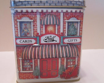 Vintage Hallmark Gift Cards Container Tin - Storage Box for Gift Cards - Christmas Design Card Storage Tin Container