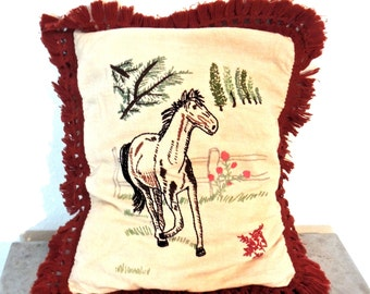 vintage embroidered horse pillow - 1960s mid century fringed throw pillow