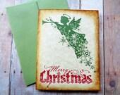 Angel Christmas Cards Rustic Vintage Style Snowflakes