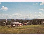 Peacham Vermont Vintage Postcard - Vermont Country View featuring Farm and Church - Vermont Travel Souvenir - New England Decor