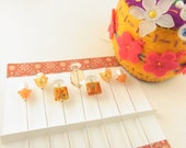Decorated Sewing Pins Tangerine Faceted Rectangle Crystal and Millefiori