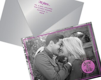 Magenta Foil Engagement Photo Save the Date, set of 50, includes envelopes, return address printing; 12 different foil colors available
