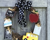 Back to school wreath- FREE SHIPPING
