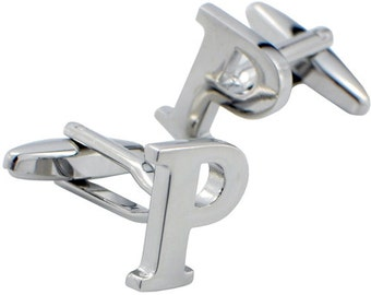 Initials Cufflinks Letter P Silver Cuff-links (Mix and Match any Initials & Number) 1200348